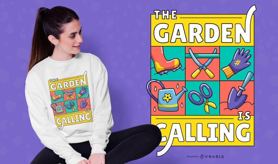 Design de t-shirt de ilustração de chamada de jardim