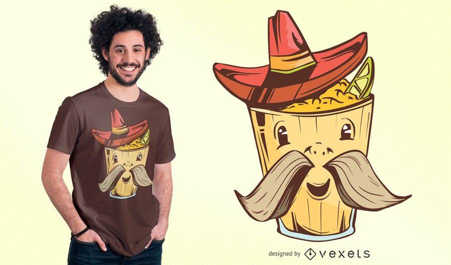 Diseño de camiseta de dibujos animados de comida mexicana
