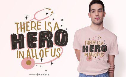 Design de t-shirt de texto de herói