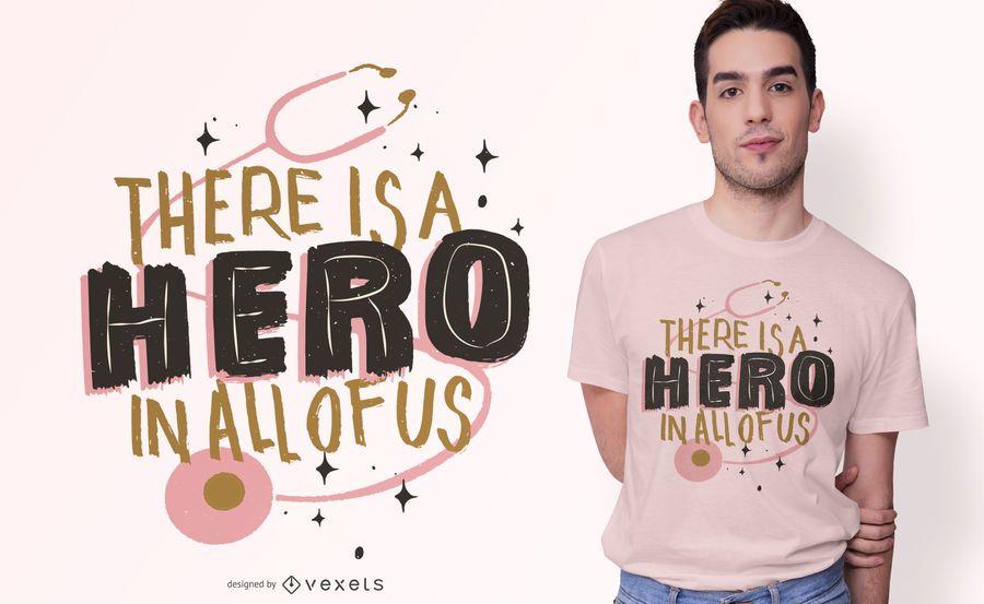 Diseño de camiseta Hero Text