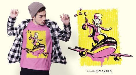 Design de camiseta de avião de homem rico