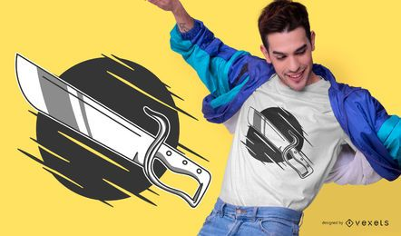 Diseño de camiseta con mango de cuchillo