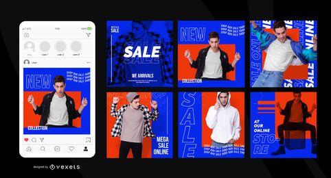 Postagens de mídia social de venda em loja on-line