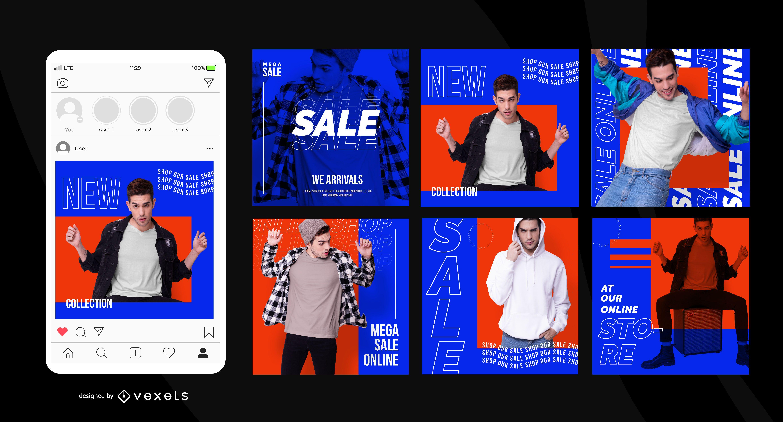 Postagens de mídia social de venda de loja online