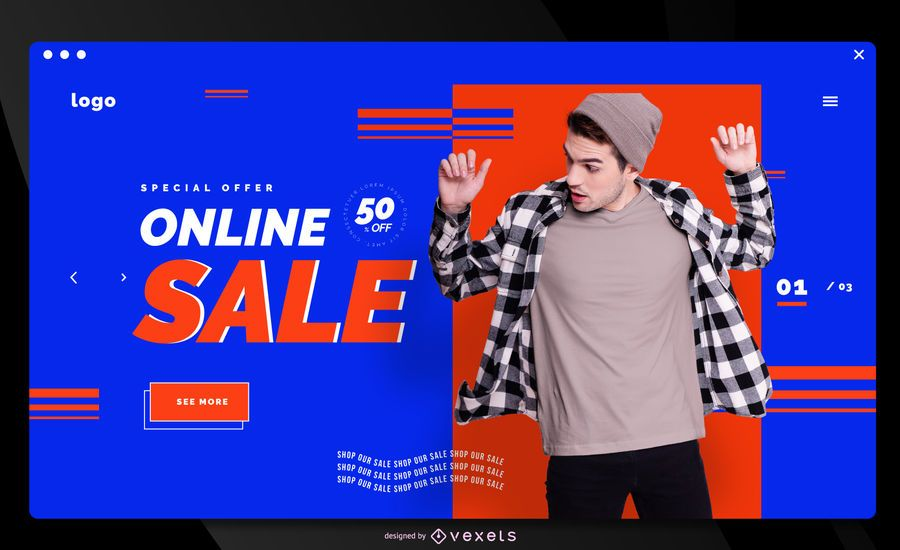 Online store sale landing page template