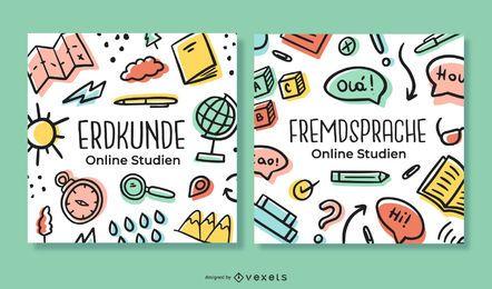 Pacote de banner de doodle alemão de estudo on-line
