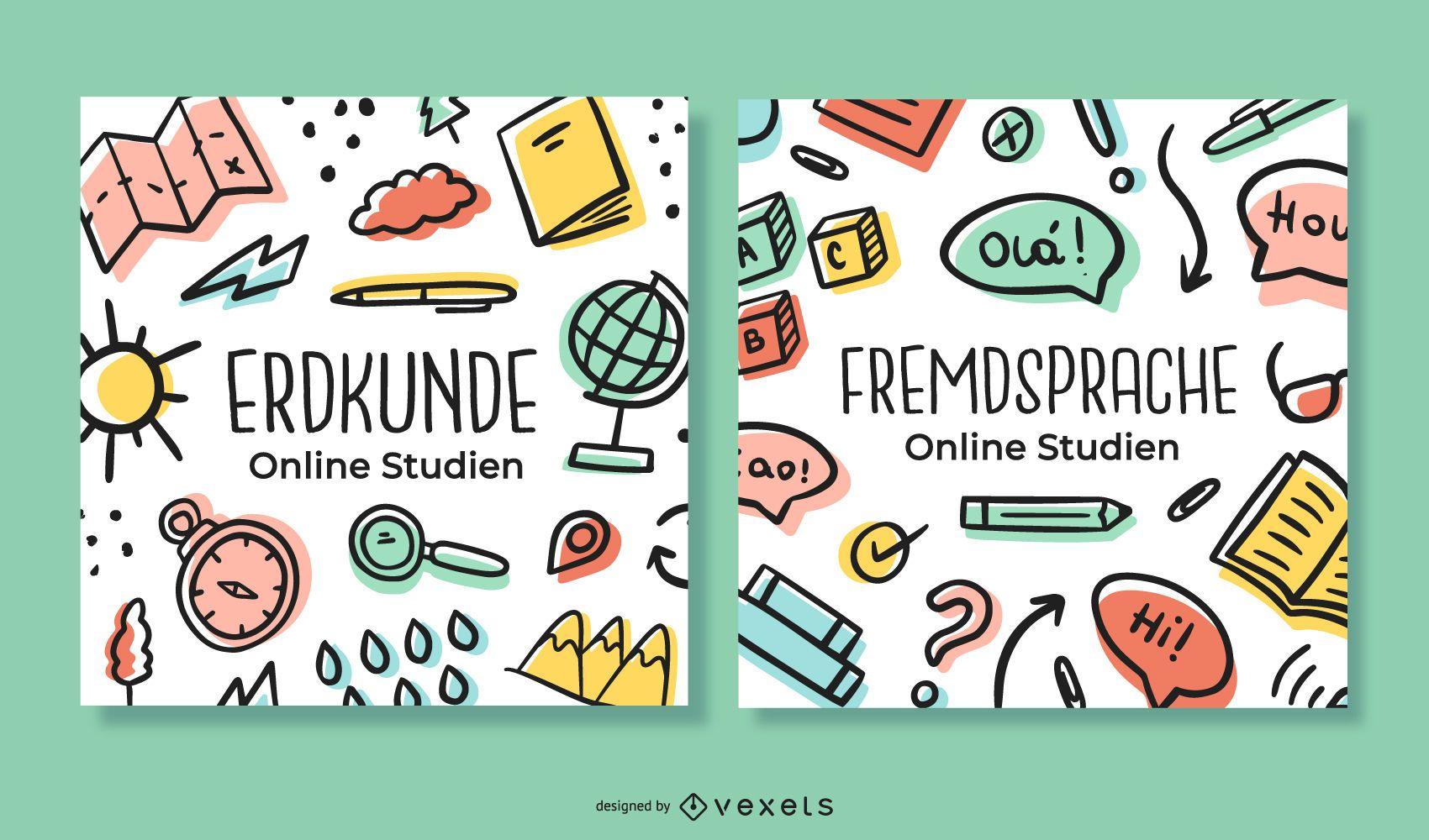 Paquete de banners de doodle de alemán de estudio en línea