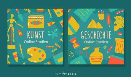 Paquete de banners de alemán de estudio en línea