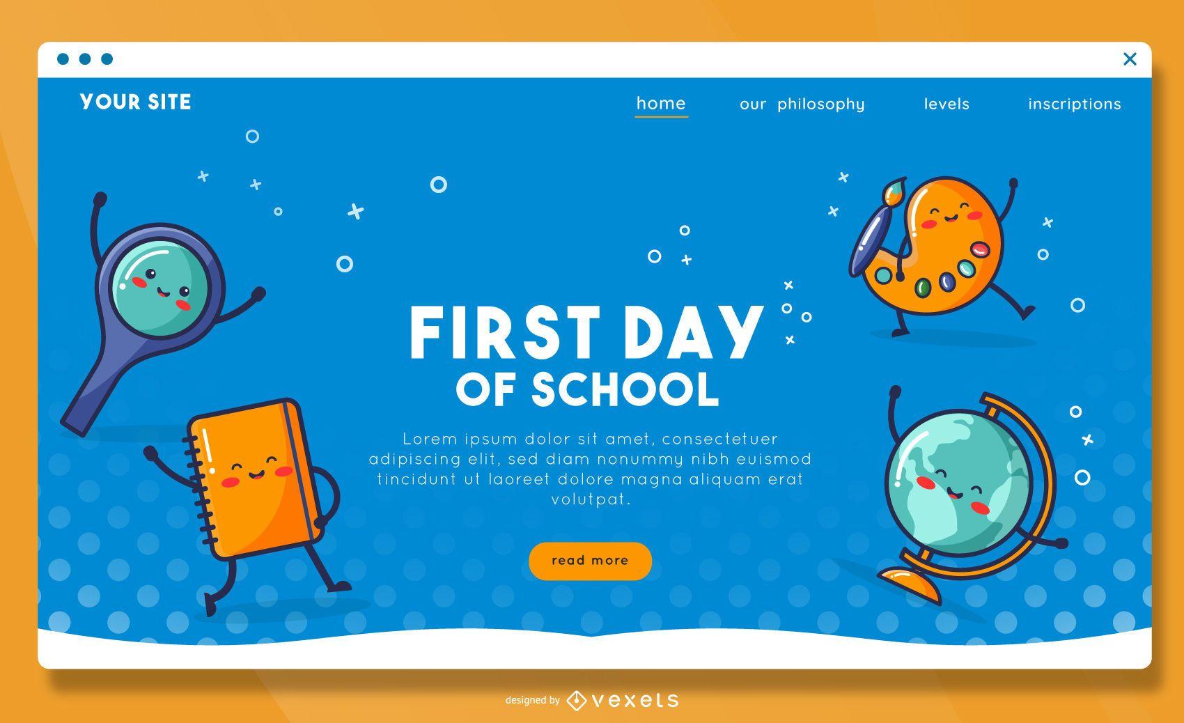 Plantilla de página de destino del primer día de clases