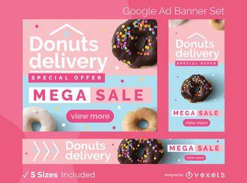 Conjunto de banner de anúncios de entrega de rosquinhas
