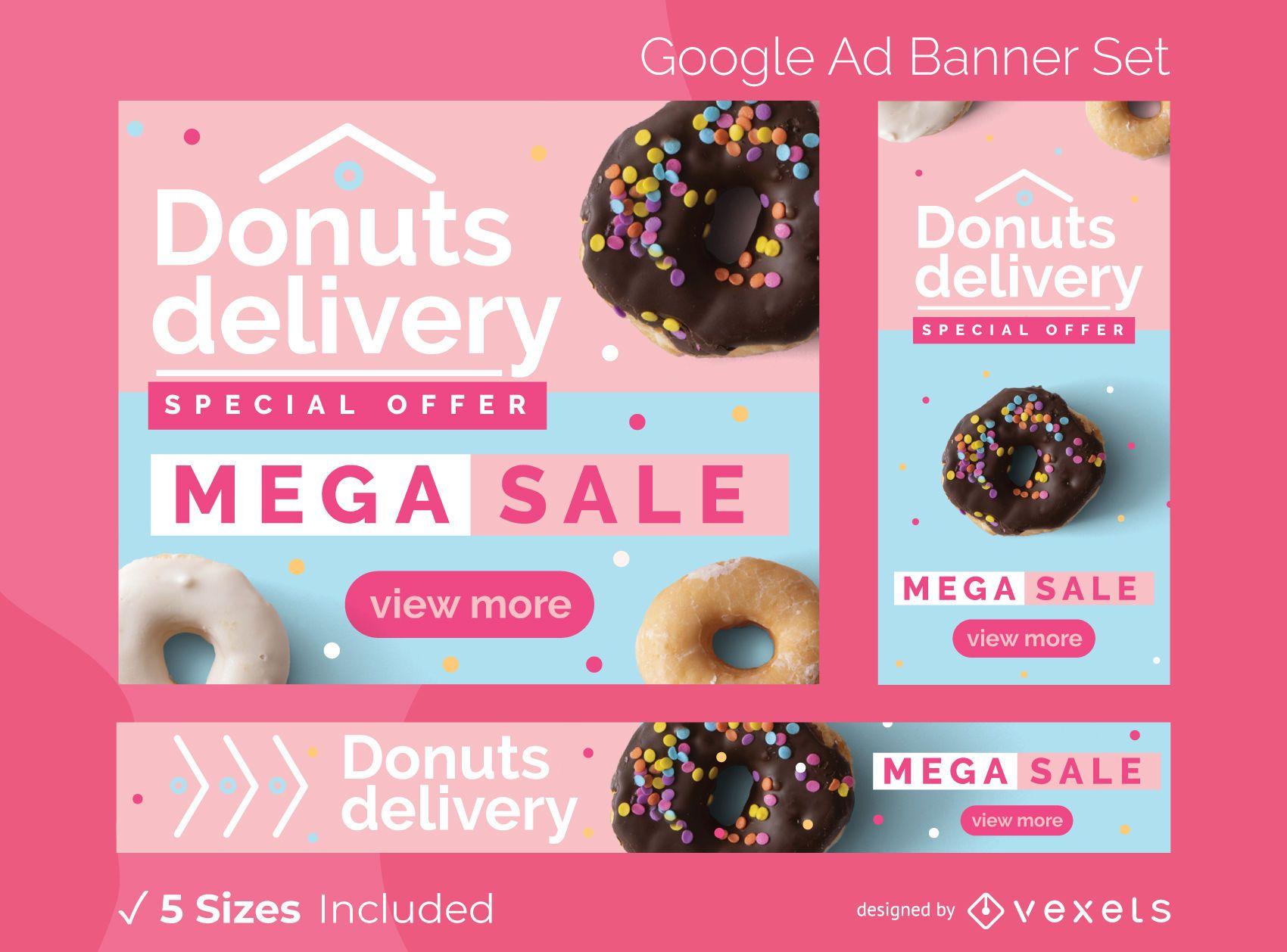 Conjunto de banners de anúncios de entrega de donuts