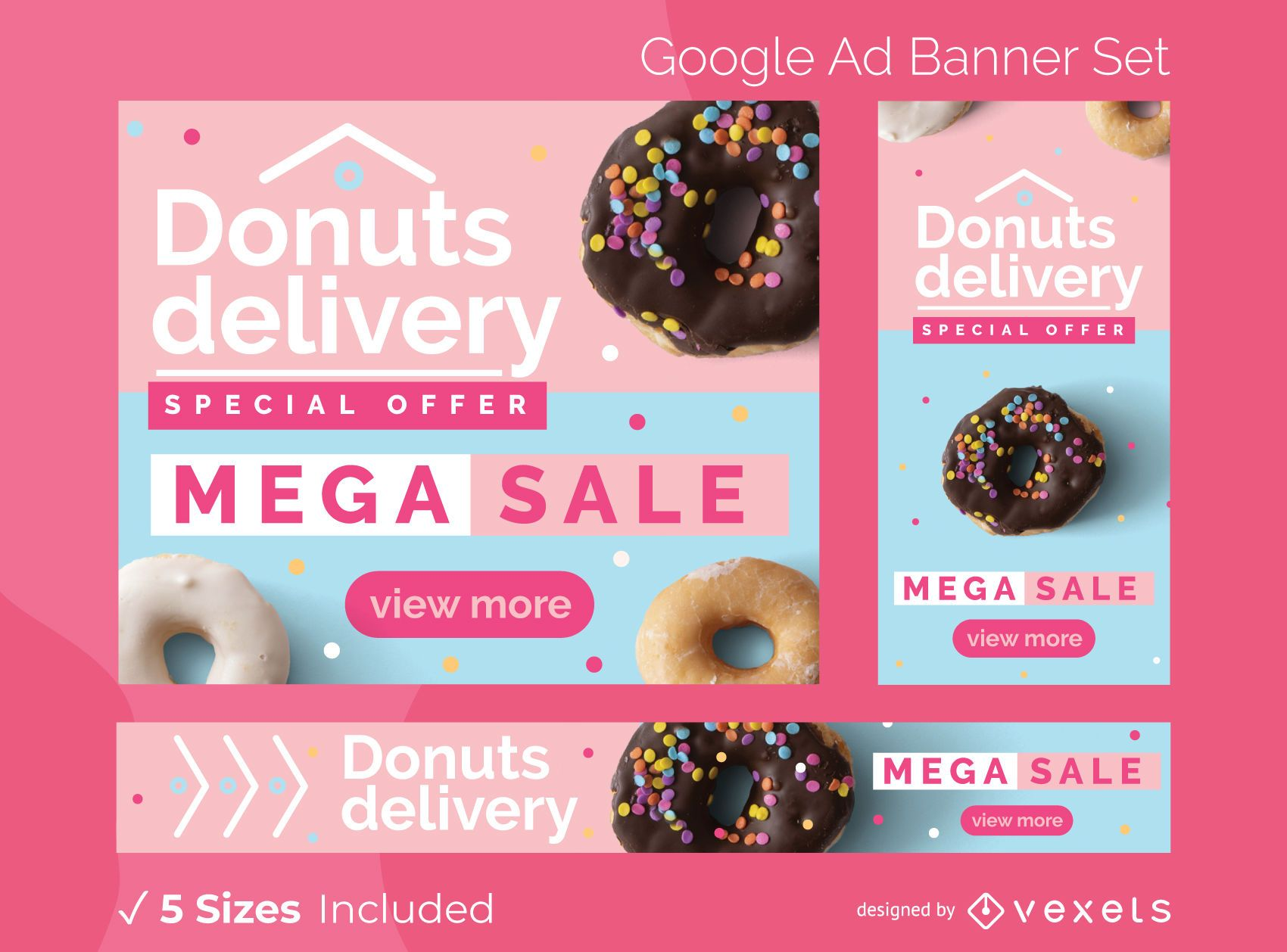 Donuts delivery ads banner set