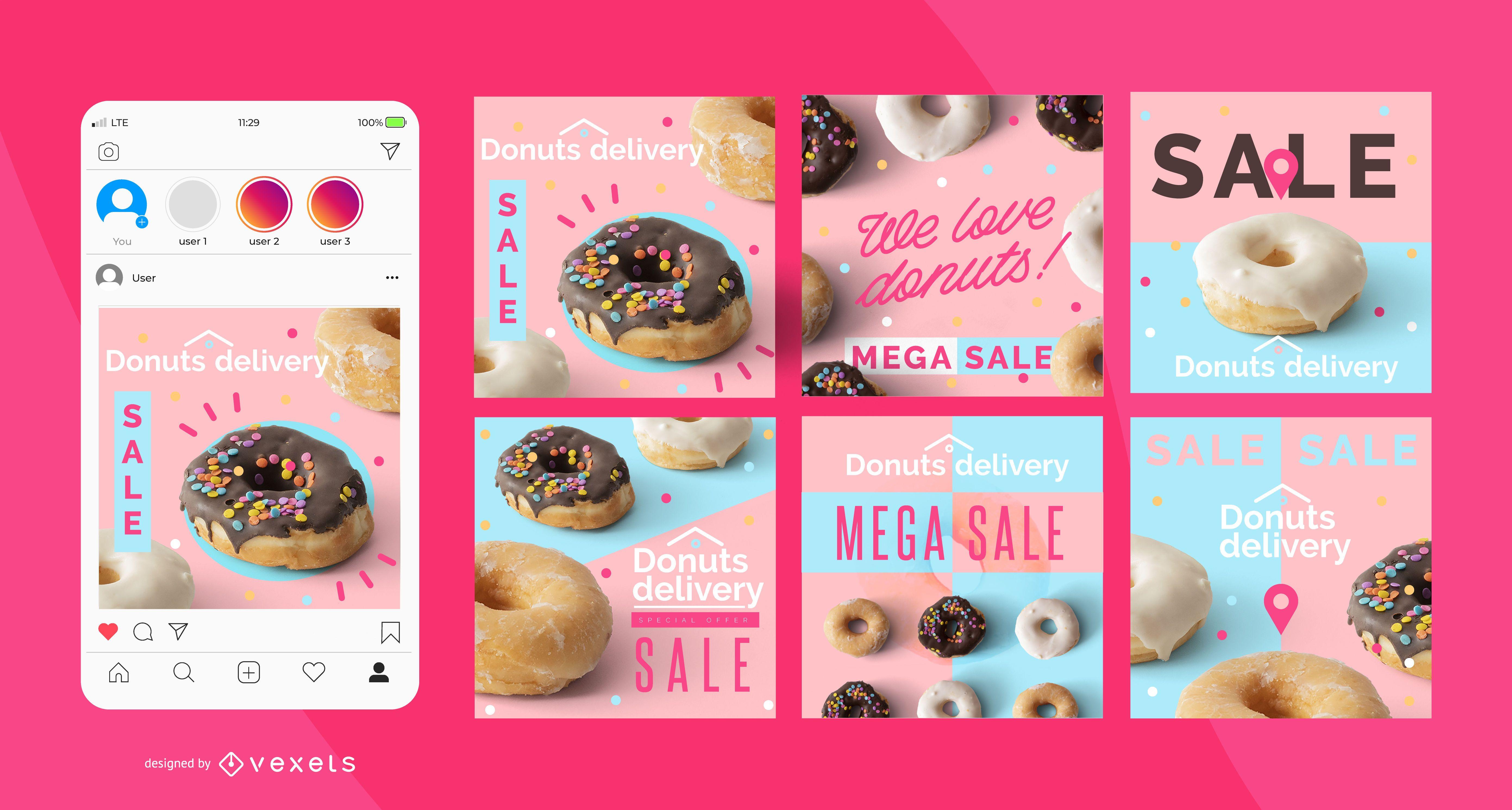 Conjunto de postagens de entrega de donuts nas redes sociais