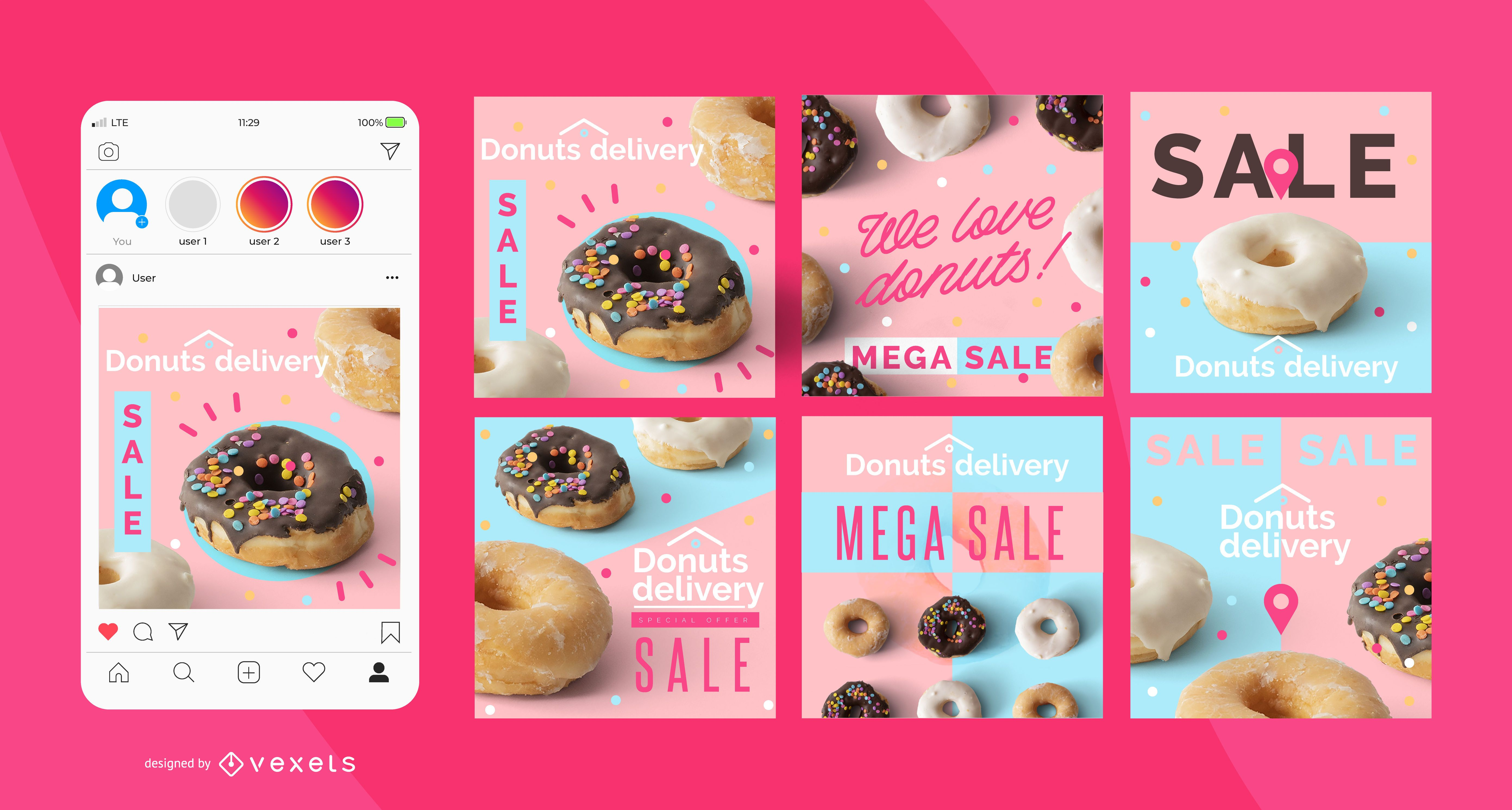 Donuts Lieferung Social Media Post Set