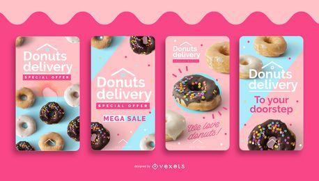 Conjunto de histórias de mídia social com entrega de donuts