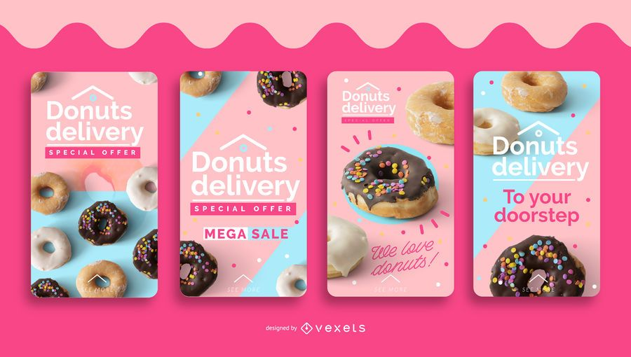Donuts delivery social media stories set