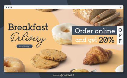 Modelo de página de destino para entrega de café da manhã