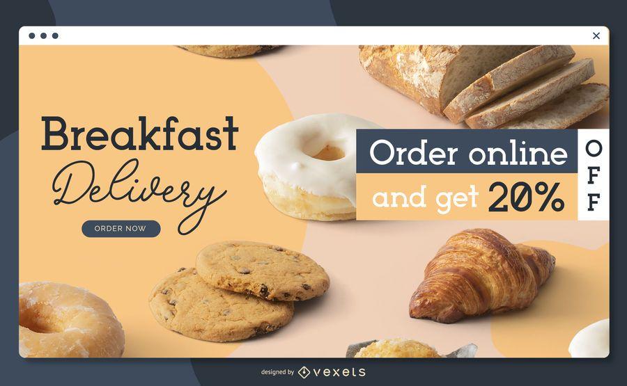 Plantilla de página de destino de entrega de desayuno
