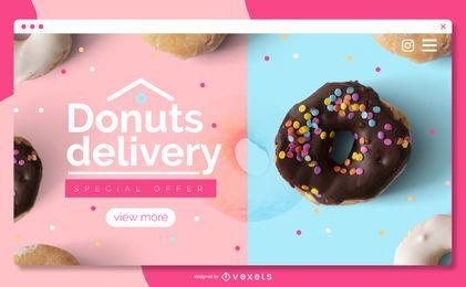 Modelo de página de destino para entrega de donuts