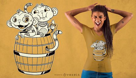 Diseño de camiseta de dibujos animados de mono tribal