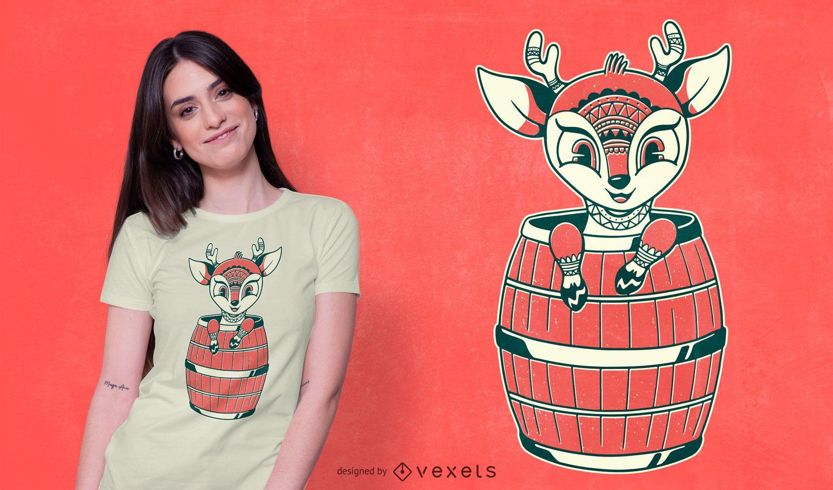 Cute Tribal Deer T-shirt Design