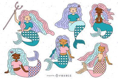 Conjunto de ilustración de sirenas lindo