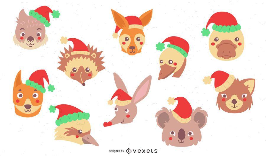 Colección plana de animales navideños