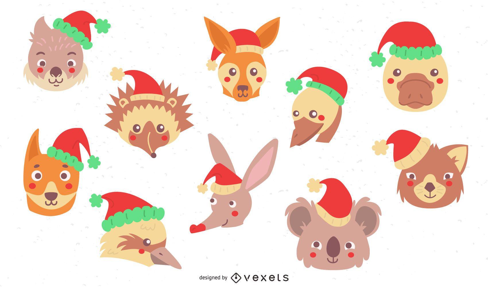 Coleção plana de animais de natal