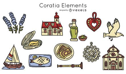 Dibujado a mano elementos croatas