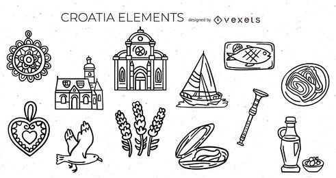 Croatian elements stroke set