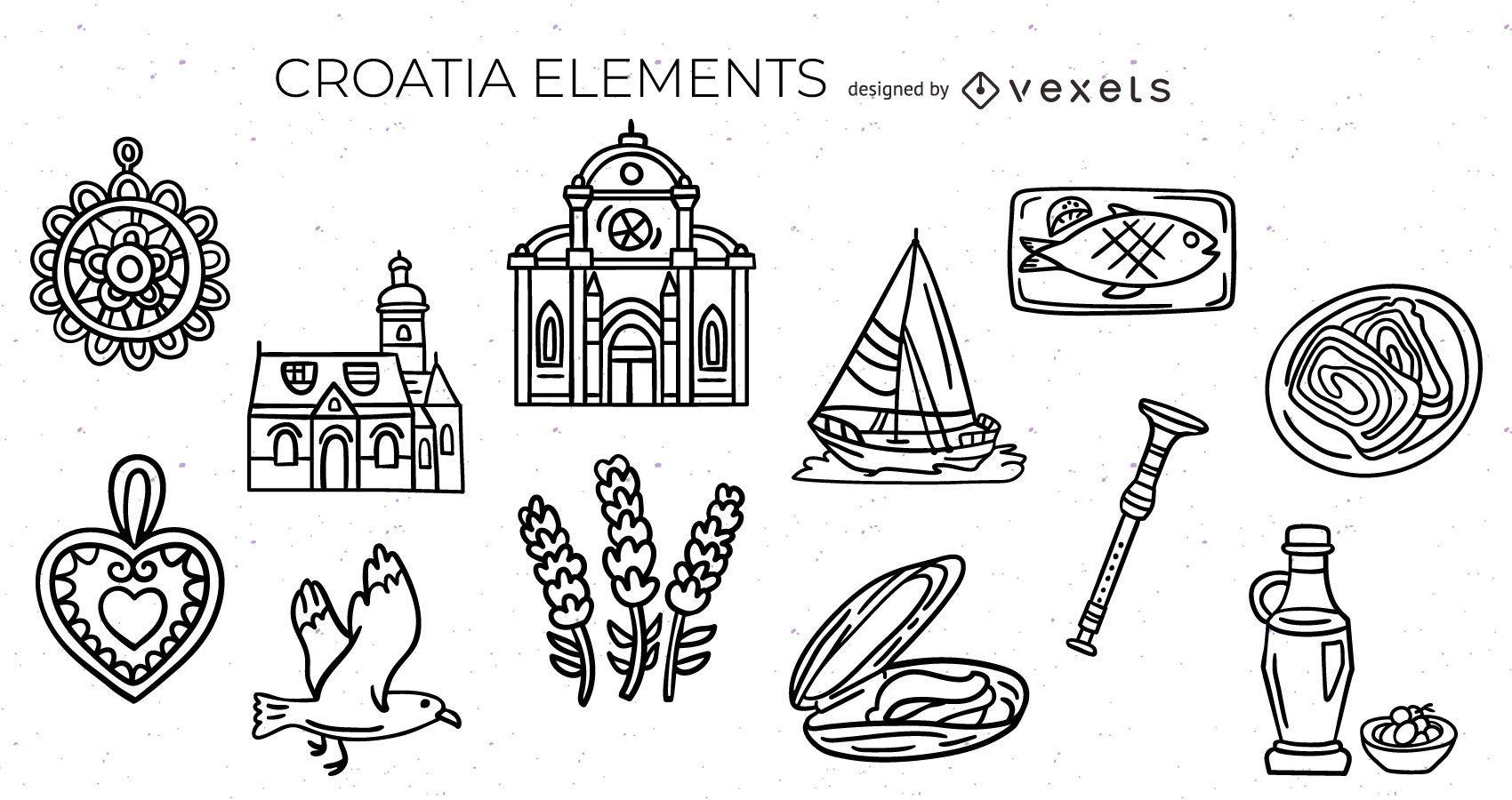 Croatian elements stroke set