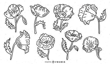 Pacote de traços de flores de papoula