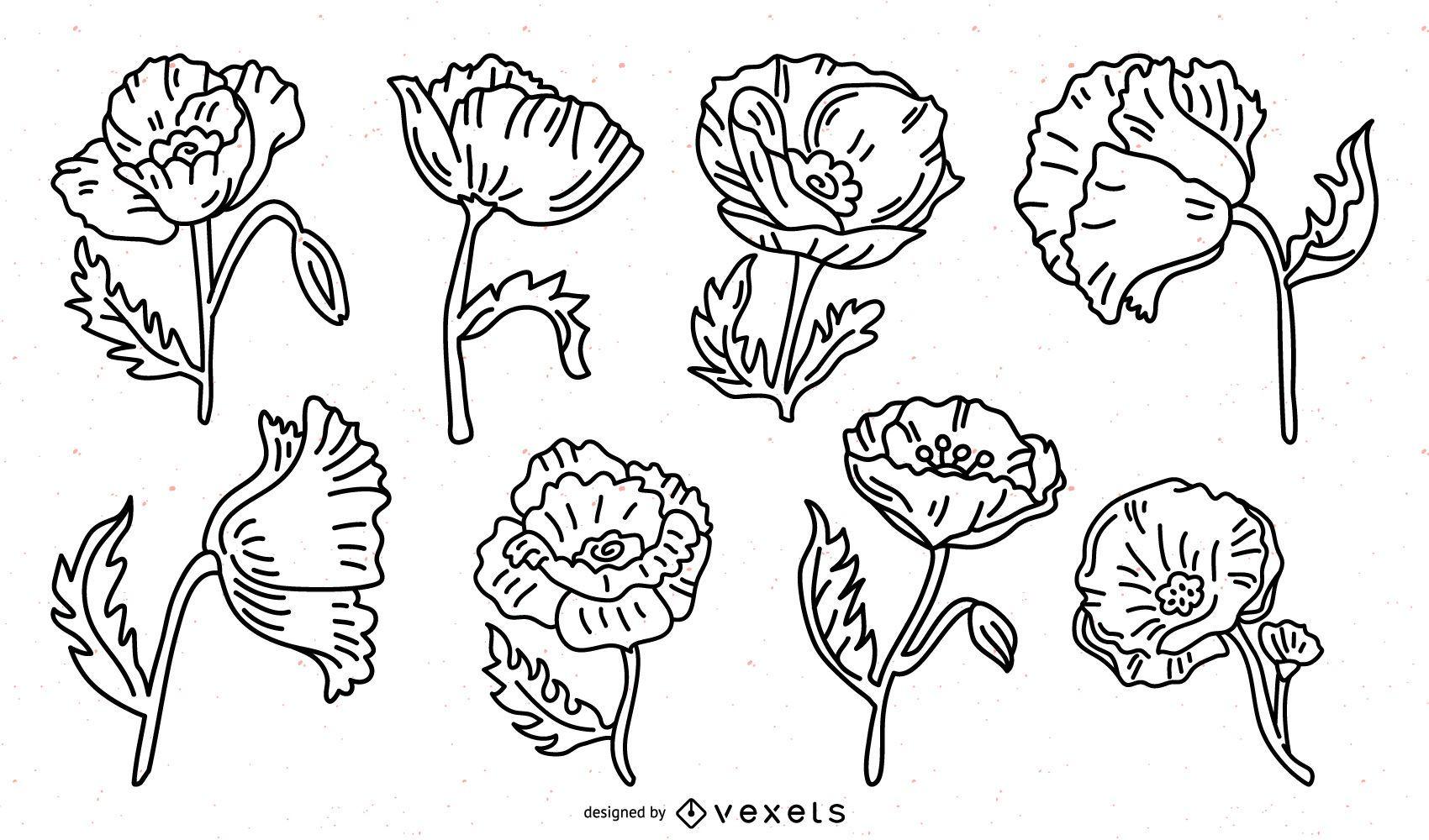 Paquete de trazos de flores de amapola
