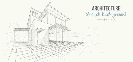 Fondo de bosquejo de casa de arquitectura