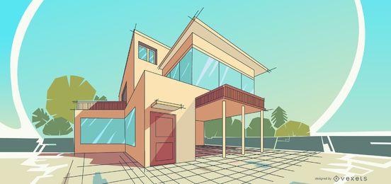 Projeto de ilustração de casa de arquitetura
