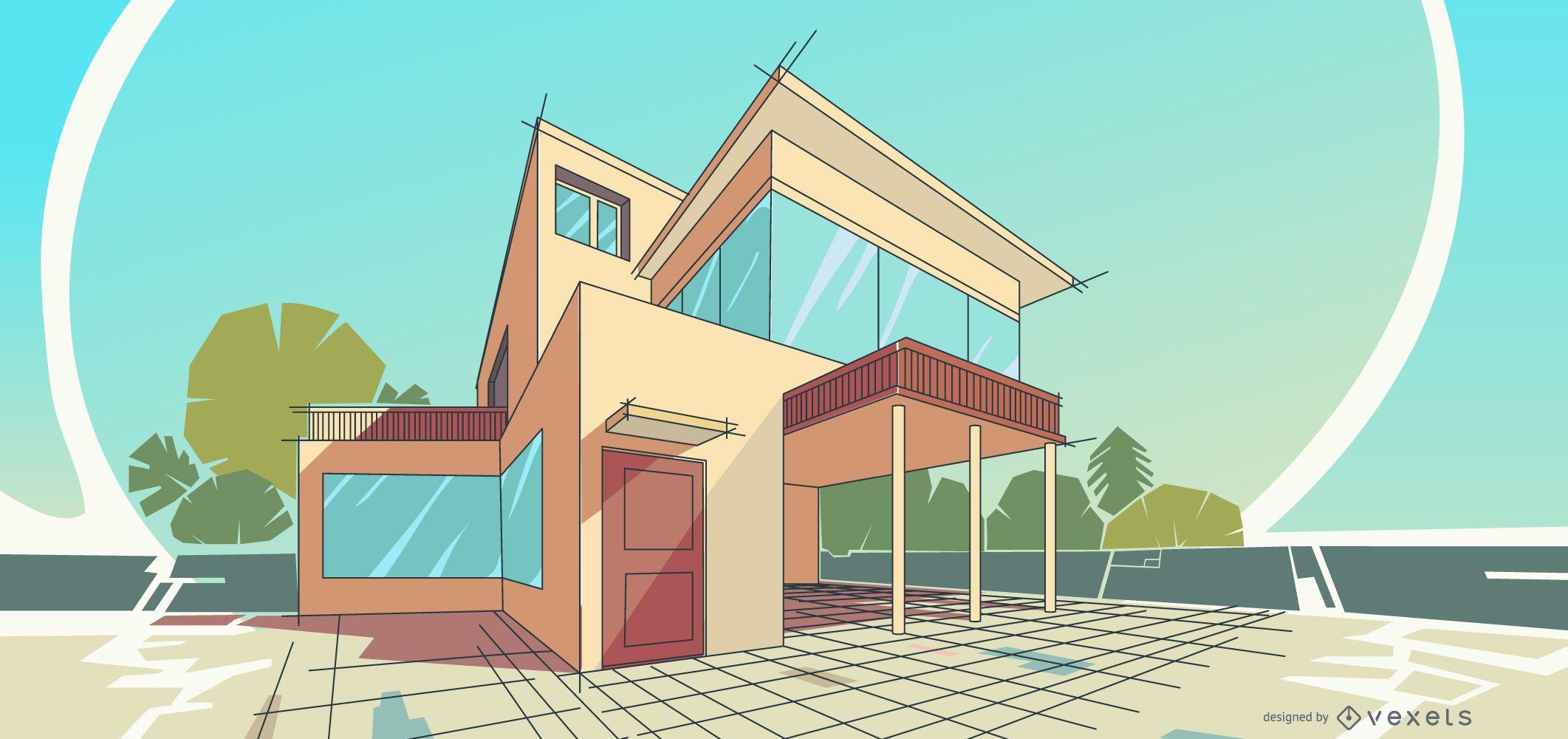 Architecture House Illustration Design
