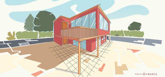Ilustración de edificio moderno de arquitectura