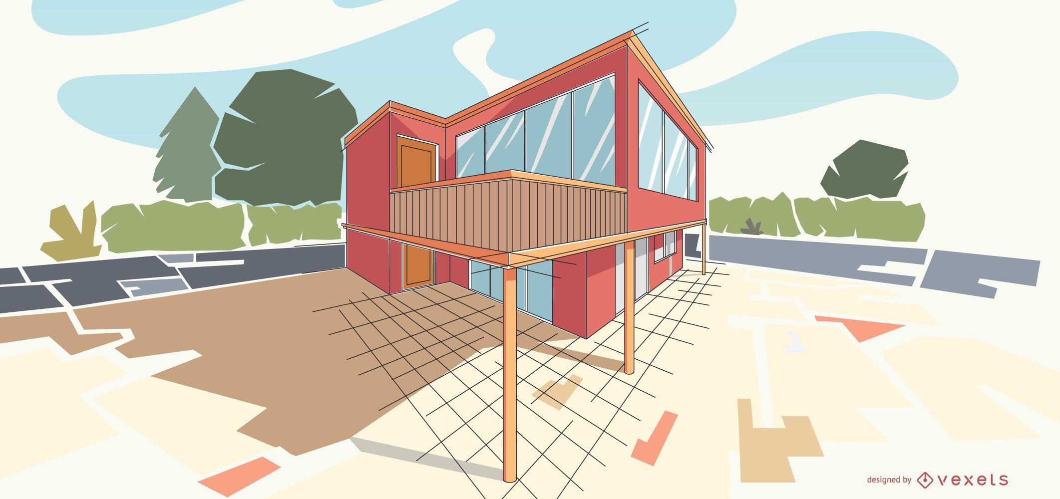 Ilustraci?n de edificio moderno de arquitectura