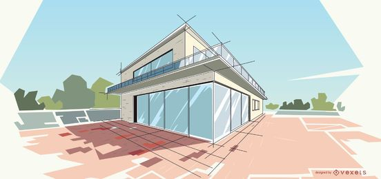 Ilustración de la casa moderna de arquitectura