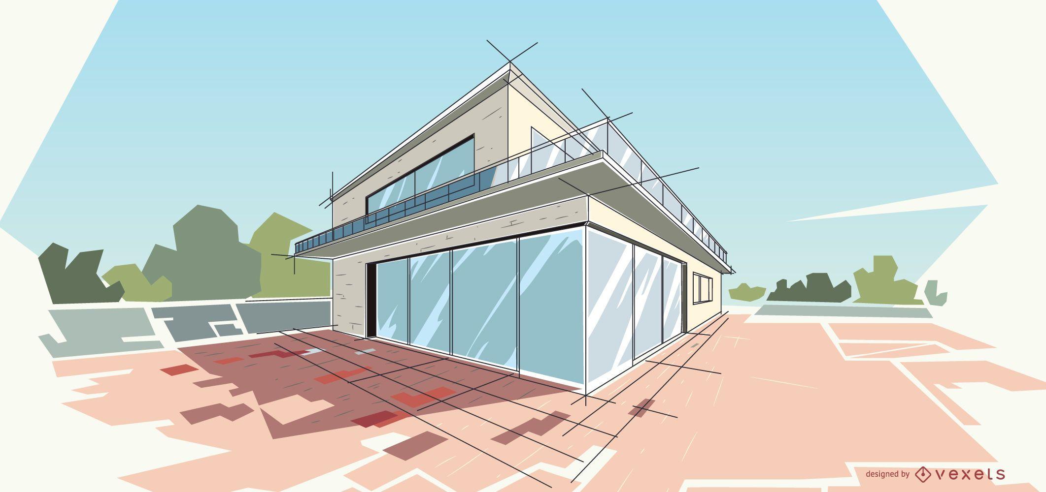Architecture modern house illustration