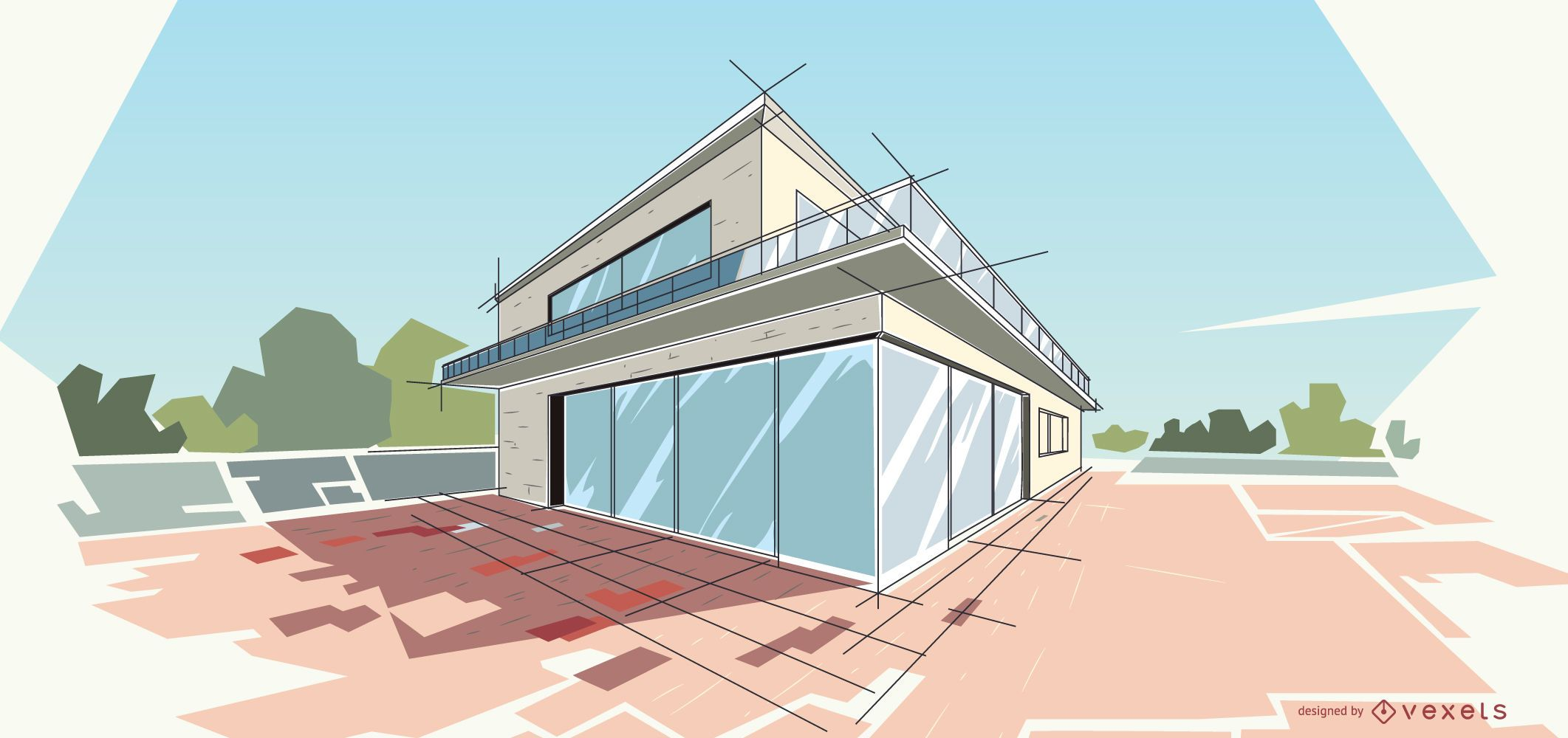 Ilustração de casa moderna de arquitetura
