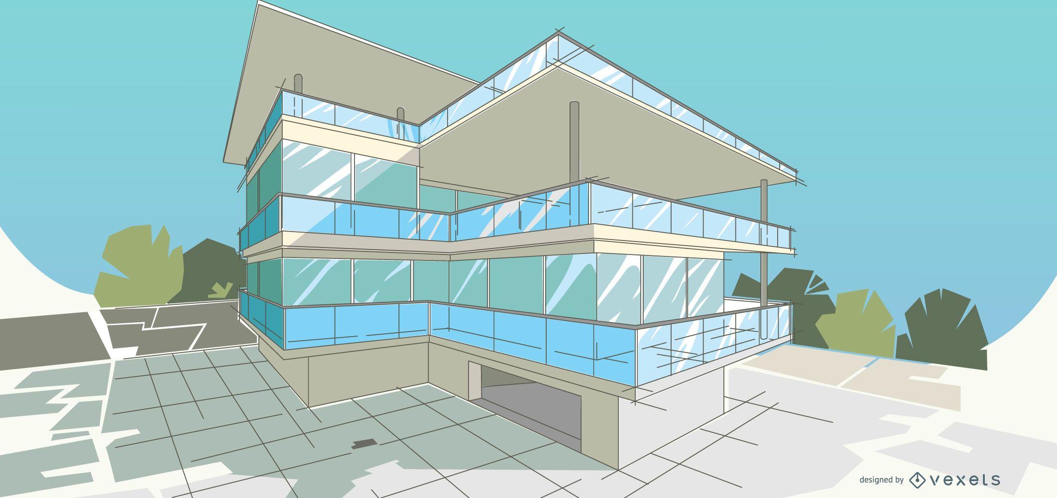 Ilustración de edificio moderno arquitectónico