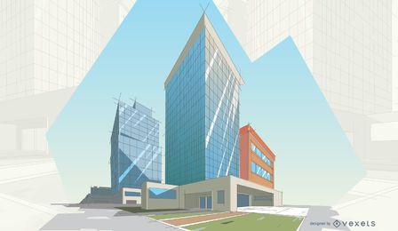 Ilustração de edifícios modernos arquitetônicos