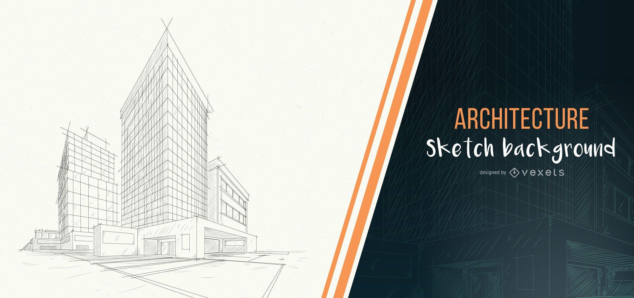 Fondo de dibujo de edificio de arquitectura