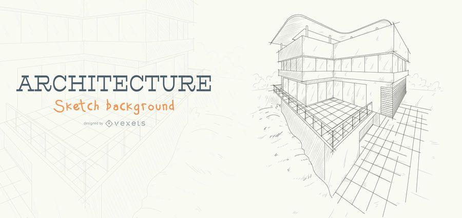 Fondo de edificio de bosquejo de arquitectura