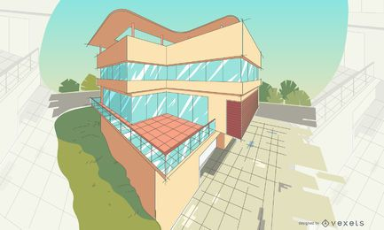 Architecture perspective building illustration