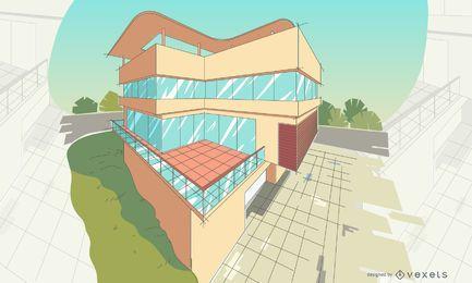 Ilustración de edificio de perspectiva de arquitectura