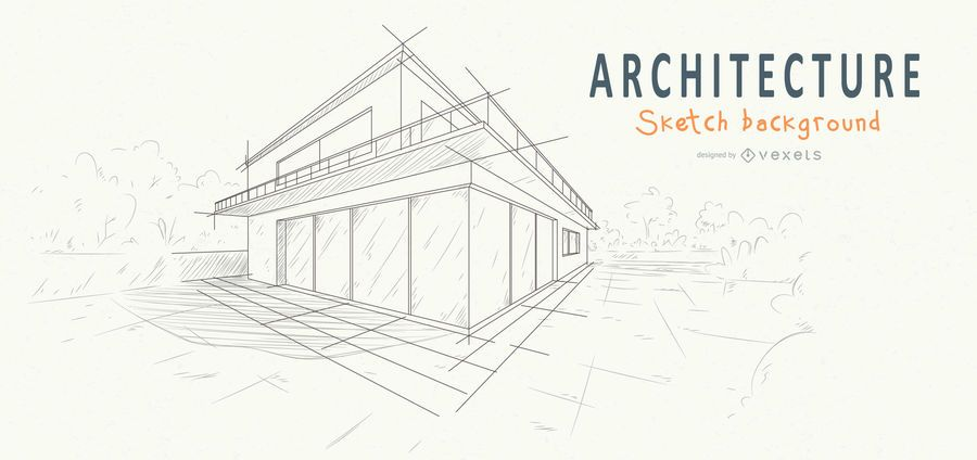 architecture house background sketch design