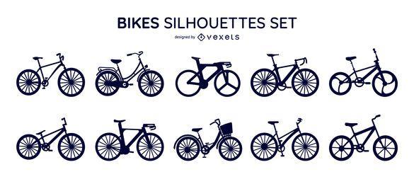 Conjunto de siluetas de bicicletas
