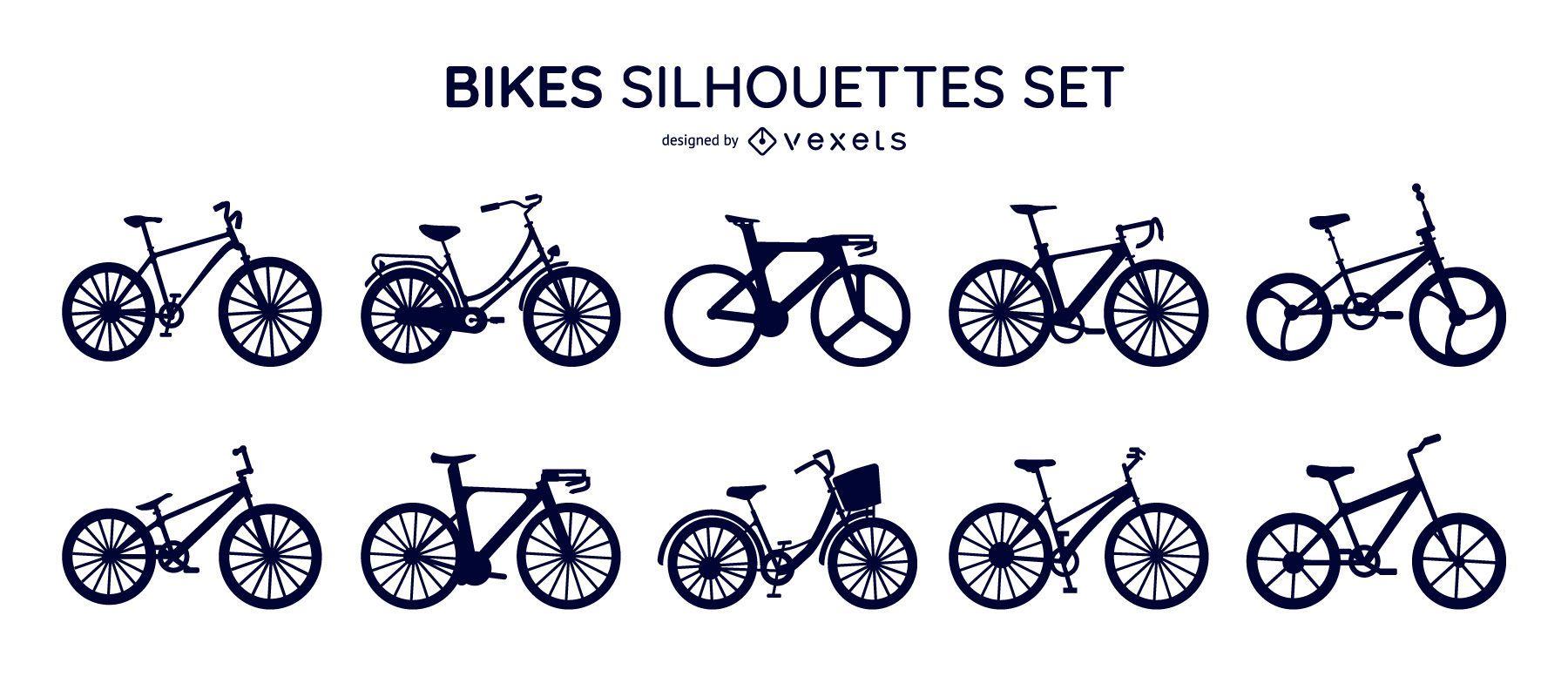 Bikes silhouettes set